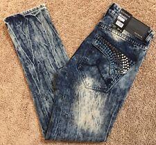 New W/ Tags! Men'sRocawear Slim Skinny Fit Dark Acid Jeans 34 X 32 Retail $97.00