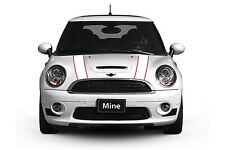 Mini Cooper 2002-2006 White with Red Hood Stripe Decals Exact Fit - No trimming