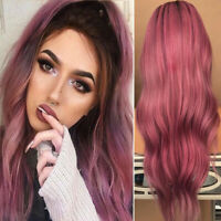 Fashion Women Full Long Wigs Real Synthetic Hair Wavy Ombre Pink Cosplay Party