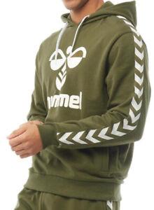 Hummel Mens Large Logo Hoodie Green/White Sizes new