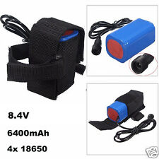 8.4V 6400mAh Rechargeable 4x 18650 Battery Pack For Headlamp Bike Bicycle Light