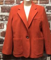 New Chadwicks Women 12P Cashmere Blend Orange Coral One Button Blazer Jacket