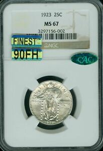 1923 STANDING LIBERTY QUARTER NGC CAC MS67 90FH MAC FINEST SPOTLESS $10K IN FH*