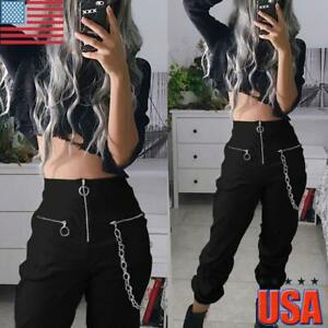 Women Gothic Steampunk Chain High Waist Slim Fit Long Pants Pockets Trousers US