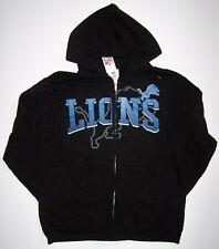 NFL Team Apparel Detroit Lions Touchback Full Zip Black Hoodie Jacket