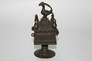 Antique old Original Mughal Islamic Fine hand carved box stand Bird on top