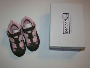 New Pediped Girls Sz 25 8.5 Joelle Pink Brown Washable Sandals Shoes Closed Toe