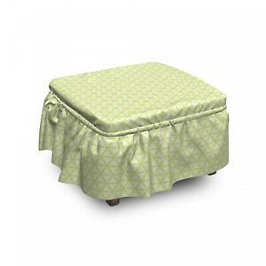 Ambesonne Abstract Modern Ottoman Cover 2 Piece Slipcover Set and Ruffle Skirt