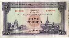 CLYDESDALE & NORTH OF SCOTLAND FIVE POUND BANKNOTE 2ND MAY 1951