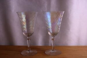 Water Goblet Iridescent Luster Loop Set of 2 Drape Design West Virginia Glass