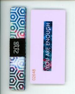 Medium ZOX Silver Singles Strap YOU ARE ENOUGH Wristband with Card Reversible