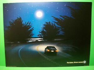 """2000 Volkswagen~Drivers Wanted ~ VW Golf """"The Cabrio"""" Pink Moon Poster~16"""" x 12"""""""