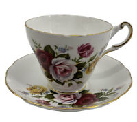 Regency English Bone China Teacup And Saucer Roses Gold Trim Red Pink Yellow