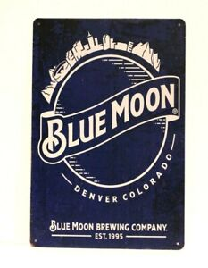 Blue Moon Beer Tin Poster Sign Bar Man Cave Vintage Ad Style Rustic Retro Look