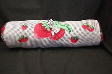 """Strawberry Throw Pillow Round Neck Girls Room Polkadots Paisley Plush 18"""""""
