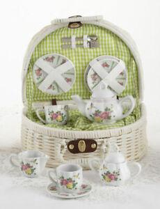 LAST ONE Children's Porcelain Tea Set for 2-Roses & Hummingbird Dishes #8089-6