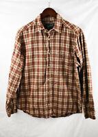 Woolrich Mens Plaid Flannel Long Sleeve Button Down Shirt Sz Medium Brown Orange