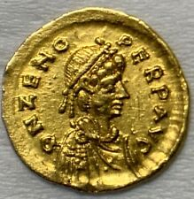 ANCIENT ROMAN GOLD COIN OF ZENO; TREMISSIS; 2ND REIGN, 476-491 AD. RARE COIN!