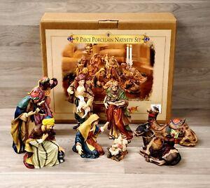 Grandeur Noel Collectors Edition 9 Piece Porcelain Nativity Set Large 1999 CLEAN