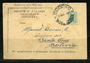 URUGUAY PASO DE LOS TOROS 3/16/1939 POSTCARD TO BOLIVIA US 150TH ANNIV AS SHOWN