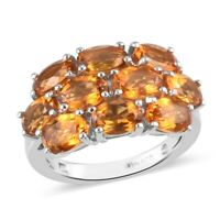 Platinum Over 925 Sterling Silver Citrine Cluster Ring Gift Jewelry Ct 4