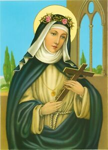 """Catholic Print Picture ST. ROSE OF LIMA - ready to frame 7 1/2 x 10"""" from Italy"""