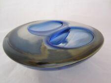 Poli Seguso era freeform blue grey Murano sommerso art glass bowl geode 2.3kg