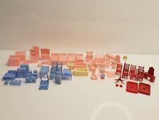 Vintage 1950's Allied Dollhouse Furniture Mult-Color Plastic Large Lot USA
