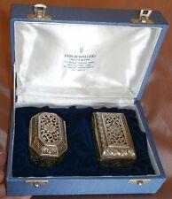 Coffret 2 boîtes Argent massif d 'Inde ajourées & guillochées - New Delhi Silver