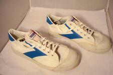 Vintage Rare Htf Brooks White & Blue Canvas Tennis Shoes Men 11.5 Nice!