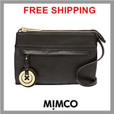 Mimco Leather MIM DUO Couch Hip Across body Hand Bag BNWT Black with gold DF