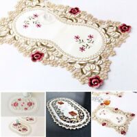 1 Pcs Dining Tablecloth Mat Vintage Embroidered Lace Fabric Placemat Home Decor