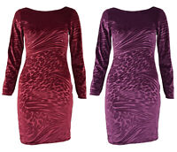 New Women's Celeb Style Velvet Party Long Sleeve Midi Bodycon Dress 8-14