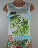 J. Jill Love Linen Women's PS Multi Color Shirt Nautical Beach Sleeveless