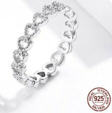 Sterling Silver Ring Open hearts Ring