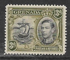 GRENADA MINT NEVER HINGED DEFINITIVE STAMP - 1938  - 3d VALUE - SEAL OF COLONY