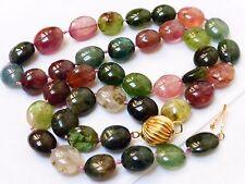 "Vintage 14k Gold Natural Watermelon Tourmaline Beads Necklace 18.5"" long 36grams"