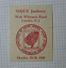 1949 Sojex Jamboree S Jersey Stamp Club Camden Nj Souvenir Label Ad