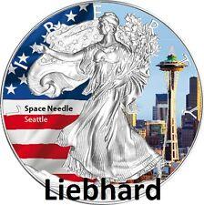 "$1 USA Argento US Eagle 2015 1 OZ dell'America wahrz. II ""Space Needle Seattle"" colore"
