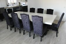 High-Back Dining chair, Crushed velvet, Nickel studs, solid oak, 20+ colours