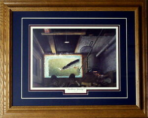Darkhouse Spearing By Les Kouba Framed Ice Spearing Print  21 x 17