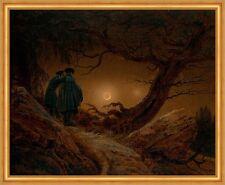 Zwei Männer in Betrachtung des Mondes Vollmond LW Caspar David Friedrich A1 036