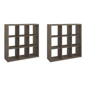 ClosetMaid Decorative Bookcase 9-Cube Storage Organizer, Graphite Gray (2 Pack)