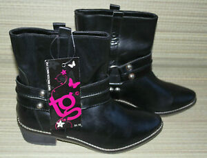 TG WOMENS BLACK PULL ON LEATHER COWBOY ANKLE BOOTS SIZE:4/37 NEW