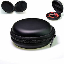 Earphone Headphone Headset Carrying Hard Pouch Case Storage Bag Black