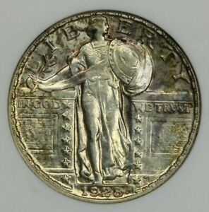 1928-P 1928 Standing Liberty Quarter ANACS AU58 Old Small ANACS beautiful color!