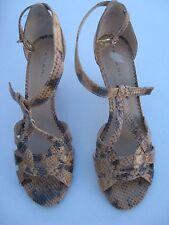 "NIB-Tahari Giselle sz 7.5M-camel color-3"" heel sandal-leather snake skin print"