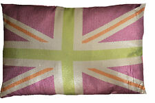 Union Jack Cerise Filled Cushion Sequin Style 16x24""