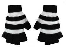 New Gothic GOTH Punk Glam Rock  Black White Stripe Mens Fingerless Knit Gloves