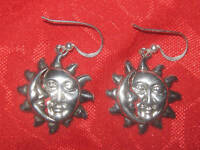 ONE OF A KIND SILVER TONE SUN /MOON CHARM PAGAN WICCAN EARRINGS